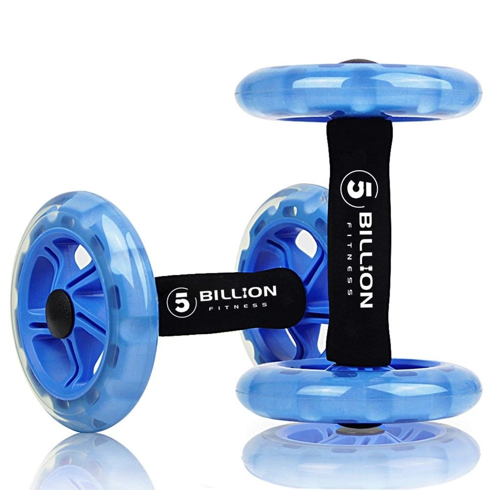 5-BILLION  Fitness 1 Pair Abdominal Wheel Rollers with Double Wheels Abdominal Waist Machine-Push-up Stands Bar With Pad