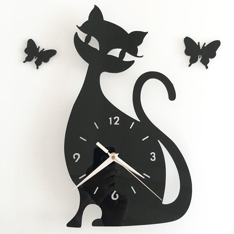 DIY Настенные часы horloge часы милый кот моделирование pendule murale зеркало настенные часы современный Дизайн Гостиная Orologio