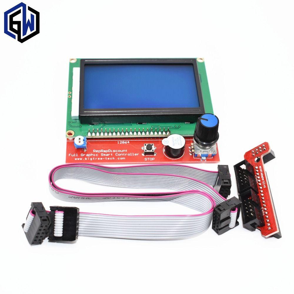 TENSTAR ROBOT impresora 3D controlador inteligente RAMPAS 1.4 LCD 12864 panel de control LCD de pantalla azul