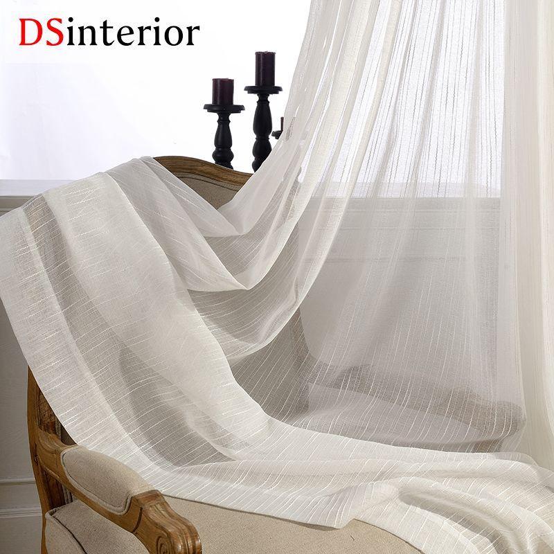 DSinterior color blanco tulle sheer cortinas para el dormitorio o sala de estar ventana