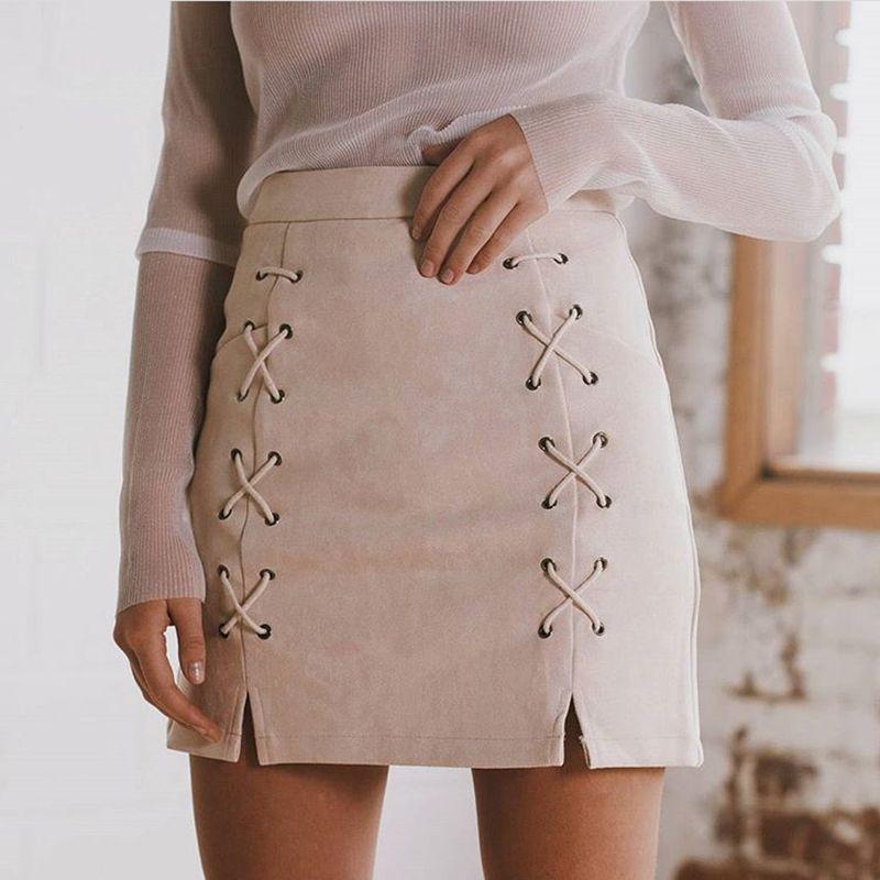 Vente chaude lacets femmes daim jupes hiver automne printemps Casual taille haute crayon jupes Mini jupe noir Nude nouvelle taille S-XL