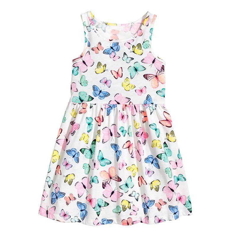 Хлопковое платье для девочки бабочка 2017 брендовые летние без рукавов платье принцессы с цветочным рисунком для детей Обувь для девочек Пла...