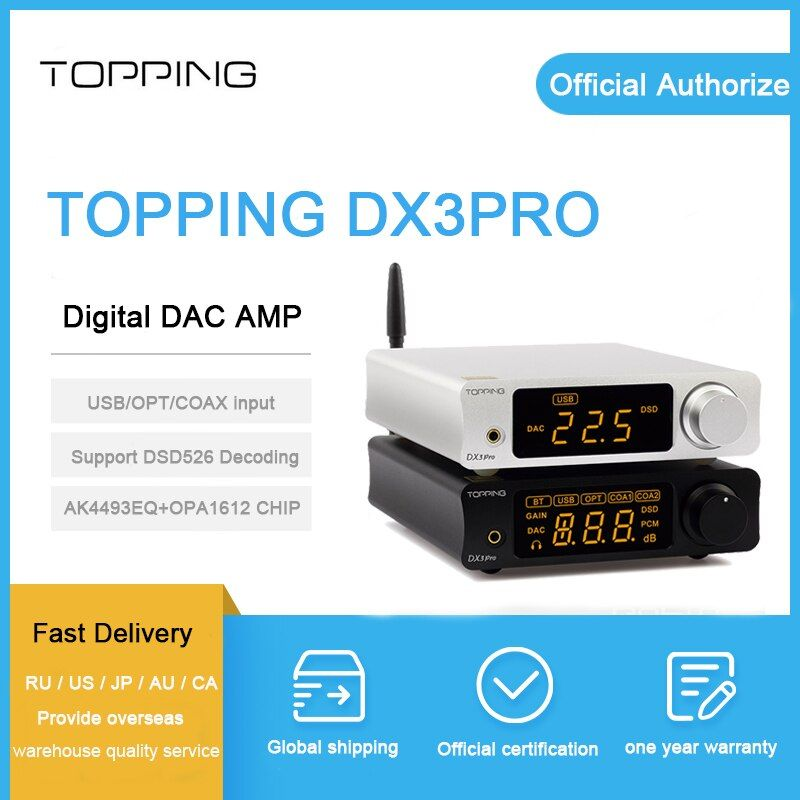 TOPPING DX3 Pro DAC AMP xmos xu208 AK4493EQ+OPA1612 decoding dsd 512 support Bluetooth ATPX coaxial/optical/usb Headphone Amp