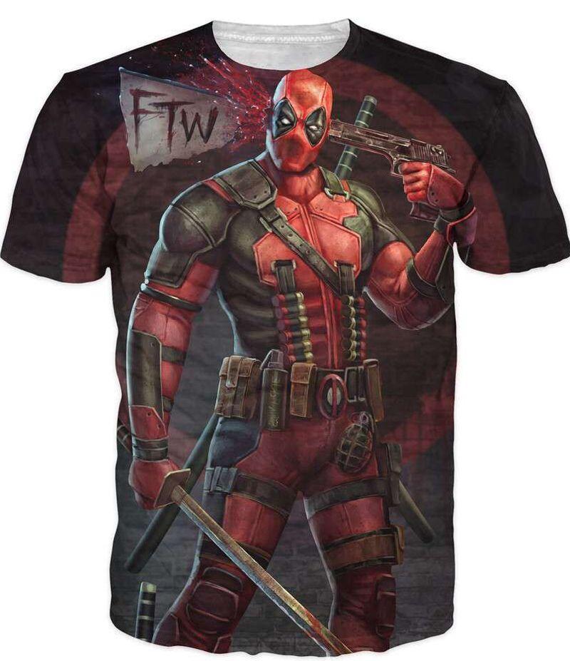 2016 nouvelle arrivée américaine bande dessinée Badass Deadpool T-Shirt t-shirts hommes femmes dessins animés personnages 3d T-Shirt drôle t-shirt décontracté chemises top