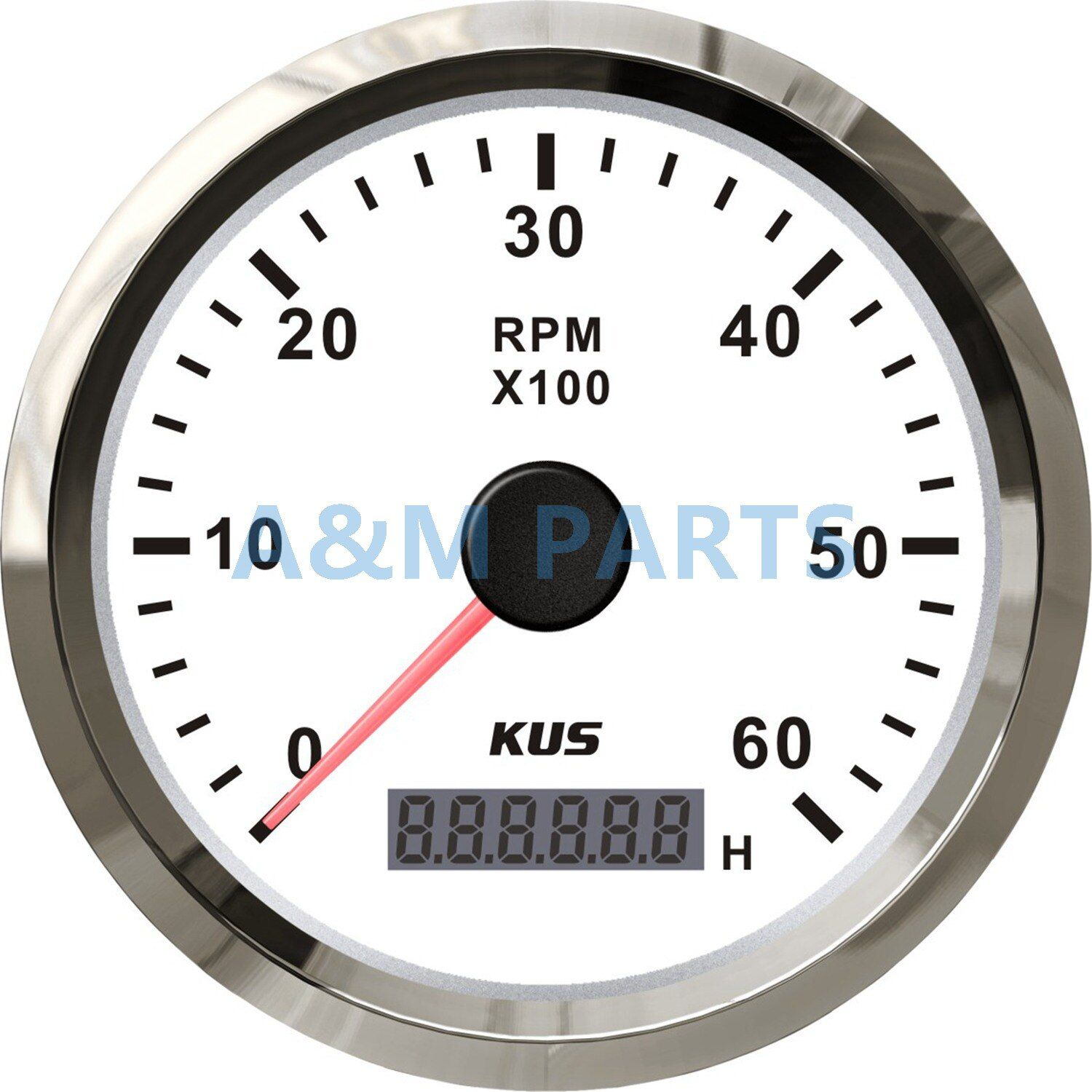 KUS Marine Outboard Tachometer With LED Hourmeter Boat Truck Car RV Waterproof RPM Meter 6000 RPM 85mm Speed Ration 1-10