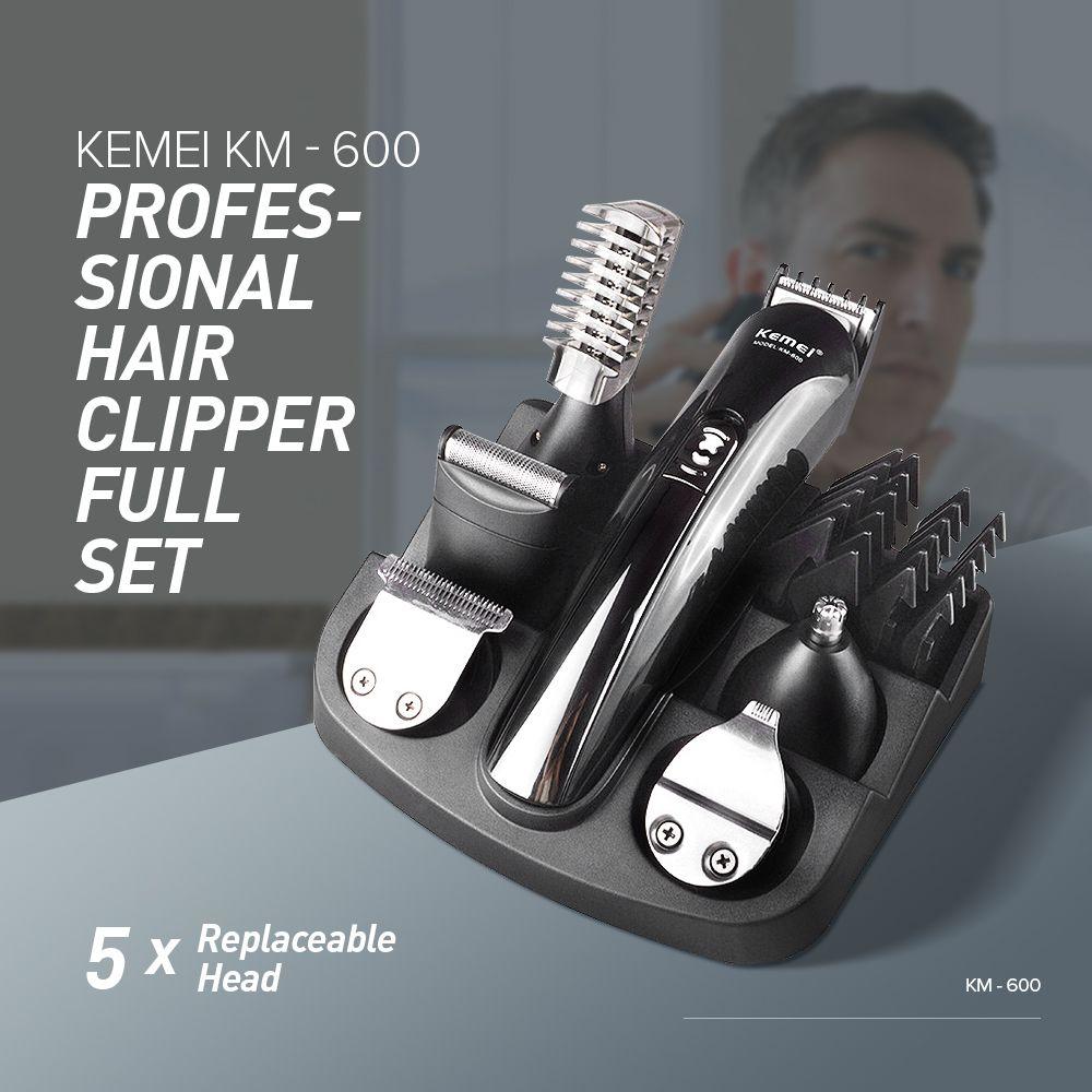 Kemei KM - 600 Professional Hair Trimmer 6 In 1 Hair Clipper Shaver Sets Electric Shaver Beard Trimmer Hair Cutting Machine XJ