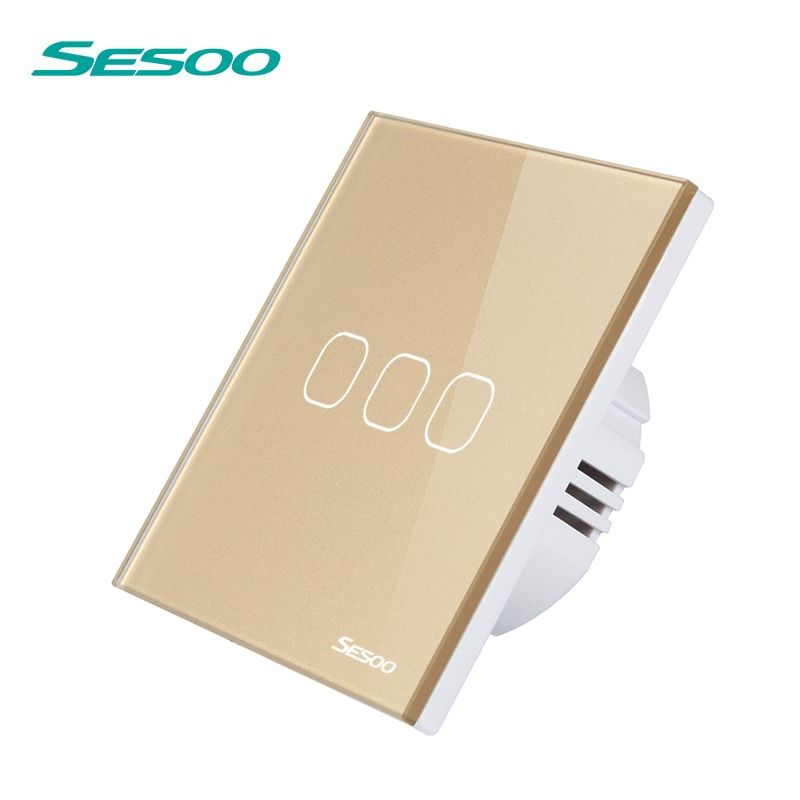 SESOO Switch with Remote Control, 3 Gang 1 Way, SY2-03 White, Wireless Light Touch Switch, Remote Control Switch