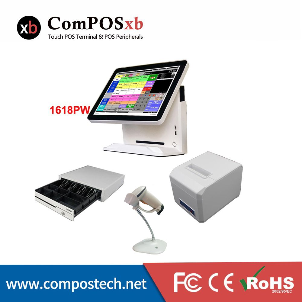 Cash Register Factory Pos System With 15 inch Monitor/Display/Computer All In One Pc Pos Terminal For Retail And Restaurant