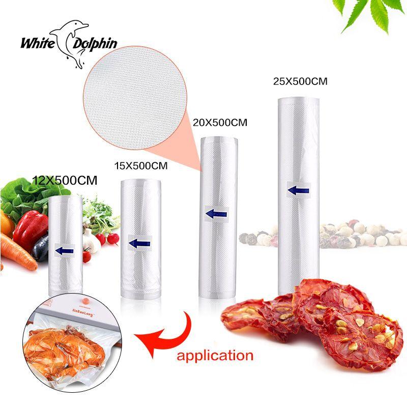 Scellant Vide Packer Sacs De Rangement 12 15 20 25 cm x 500 cm Ménage Économiseur Vide Alimentaire Sealer Rolls Emballage vide Scellant