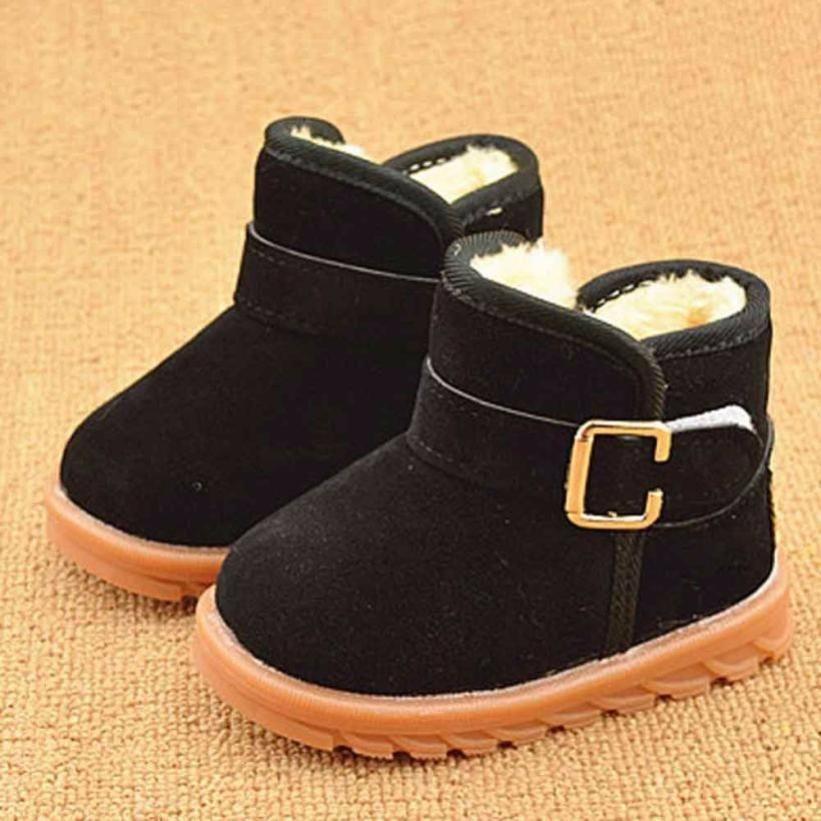 Zapatos de bebé de Invierno de Invierno de color Sólido Estilo de Arranque de Algodón Del Niño Del Bebé Botas de Nieve Caliente de La Venta Del Bebé Schoenen
