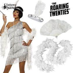 Gatsby Damen Flapper 20 s Charleston Mädchen Phantasie Kleid Zubehör Stirnband Feder Boa Hand Fan Flapper Kostüm Zubehör Set