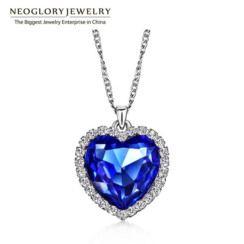 Neoglory Austrian Crystal Rhinestones Heart Love Chain Necklaces & Pendants for Women Fashion Jewelry Gifts 2017