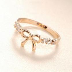 Korea Kristal cincin jari Warna Busur cincin Emas pernikahan engagement Zircon Kristal Rings wanita perhiasan Dropshipping grosir Baru