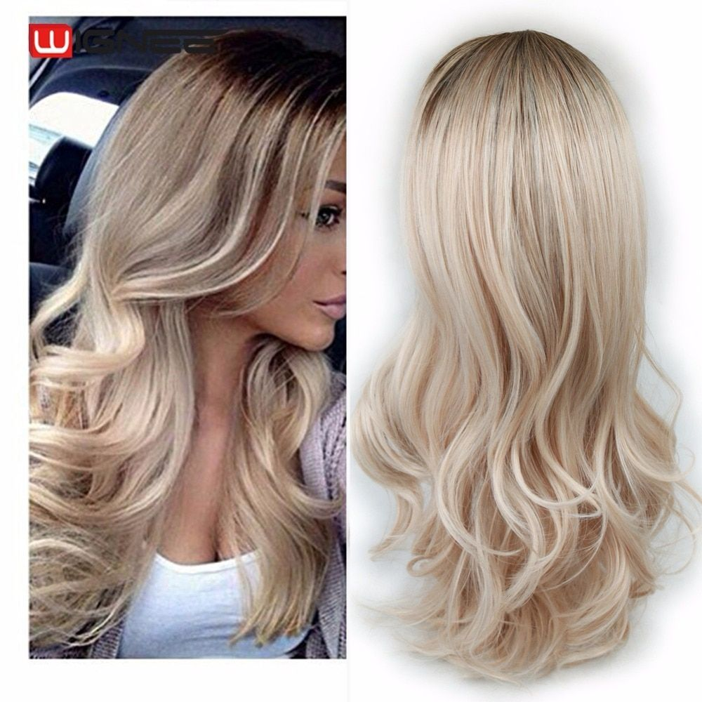 Wignee Long Ombre Brown Ash Blonde <font><b>High</b></font> Density Temperature Synthetic Wig For Black/White Women Glueless Wavy Cosplay Hair Wig