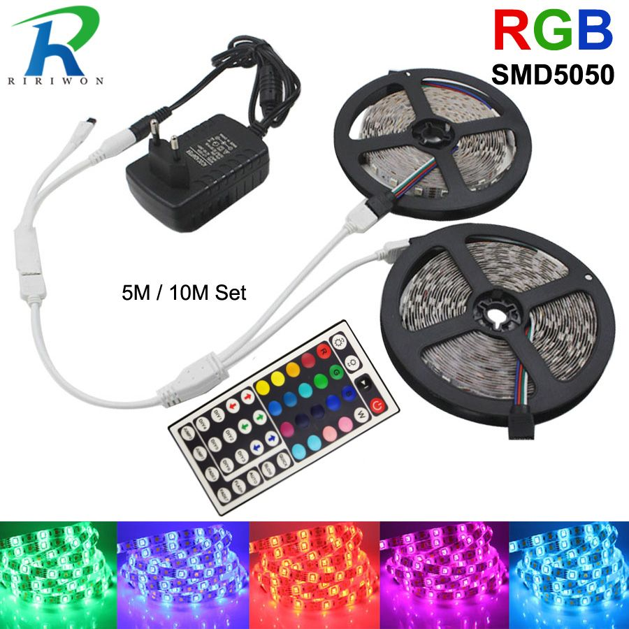 RGB led Bande Lumière 12 V SMD 5050 Flexible Ruban Bande DC 12 V RGB Diode Bande fita de 5 M 10 M 15 M avec IR adaptateur de manette Ensemble