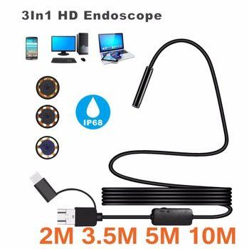 8 мм Водонепроницаемый IP 68 2 м 3.5 м 5 м 10 м кабель 1200 P HD 3 в -1 компьютер эндоскопа бороскоп Tube 8 светодиодов инспекции бороскоп Камера