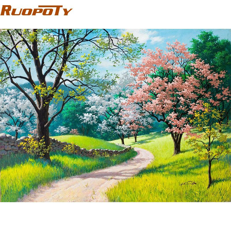 RUOPOTY cadre fleurs de cerisier route peinture à la main par numéros Kits peint à la main peinture à l'huile décor à la maison mur Art photo 40x50 CM