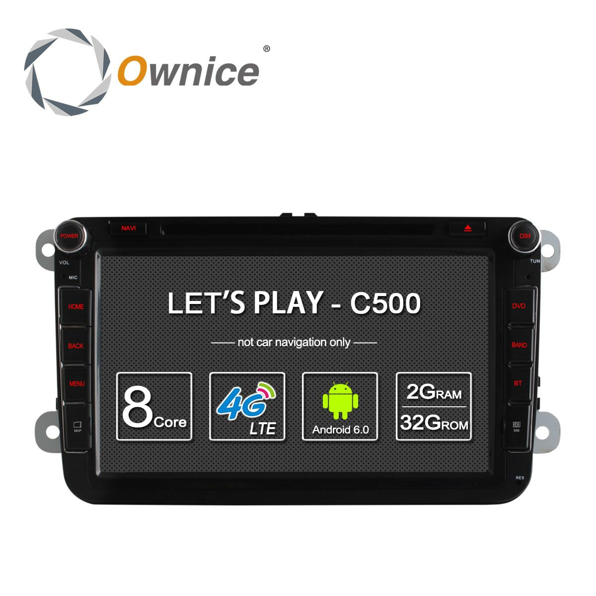 4G SIM LTE Network Ownice C500 Octa 8 Core Android 6.0 2G RAM 2 Din Car DVD GPS Navi Radio Player For VW Skoda Octavia 2