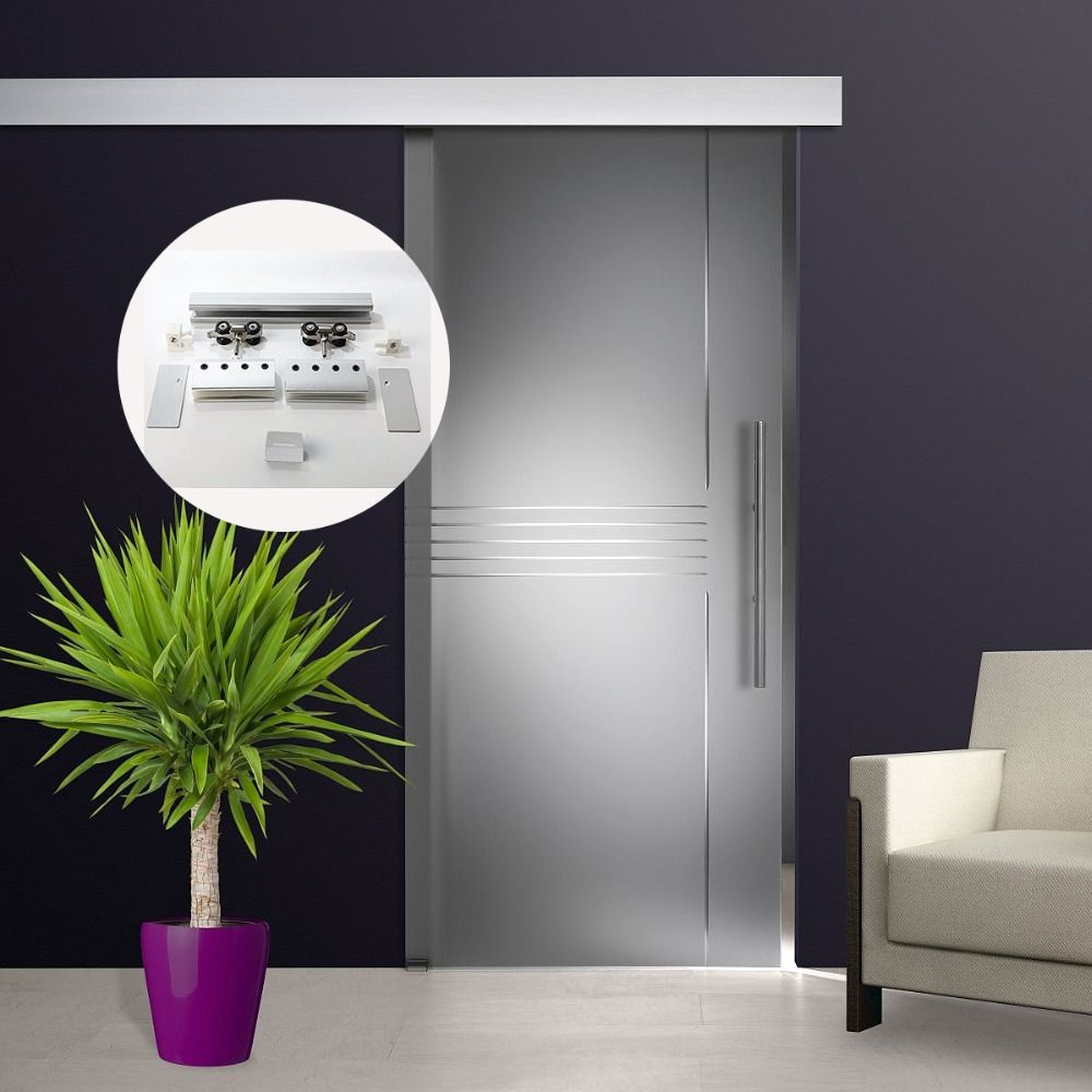 Matériel de porte coulissante en verre brossé en alliage d'aluminium de 6.6 pieds