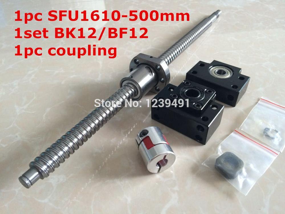 ballscrew 1610 assembly  1set 1610 - 500mm + METAL DEFLECTOR  Ballnut + BK12 BF12 support + shaft coupling