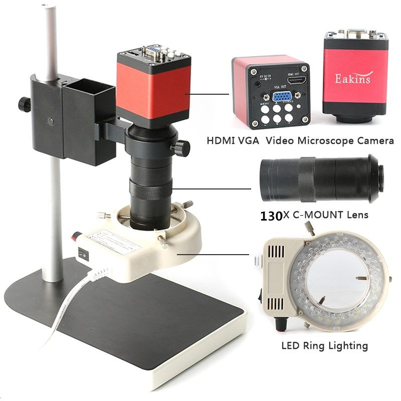 Microscope sets HD 13MP 60F/S HDMI VGA <font><b>Industrial</b></font> Microscope Camera+130X C mount lens+56 LED ring Light+stand holder