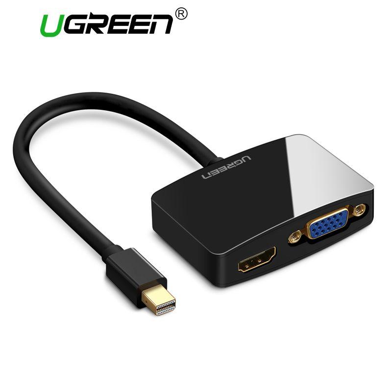 Ugreen 2 en 1 Thunderbolt 1/2 Mini DP vers HDMI VGA adaptateur de câble Mini DisplayPort vers HDMI VGA convertisseur pour Apple MacBook Air Pro