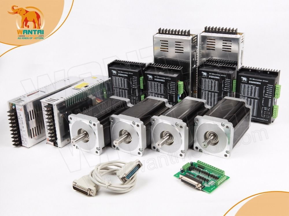 CNC 4Axis Nema 34 Wantai Stepper Motor 1232oz-in,5.6A & Driver DQ860MA & Power Supply CNC Mill Cut