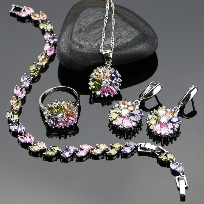 Mariée 925 ensembles de bijoux en argent Sterling pour les femmes fleur avec multicolore zircon cubique collier/bague/boucles d'oreilles/Bracelet/pendentif