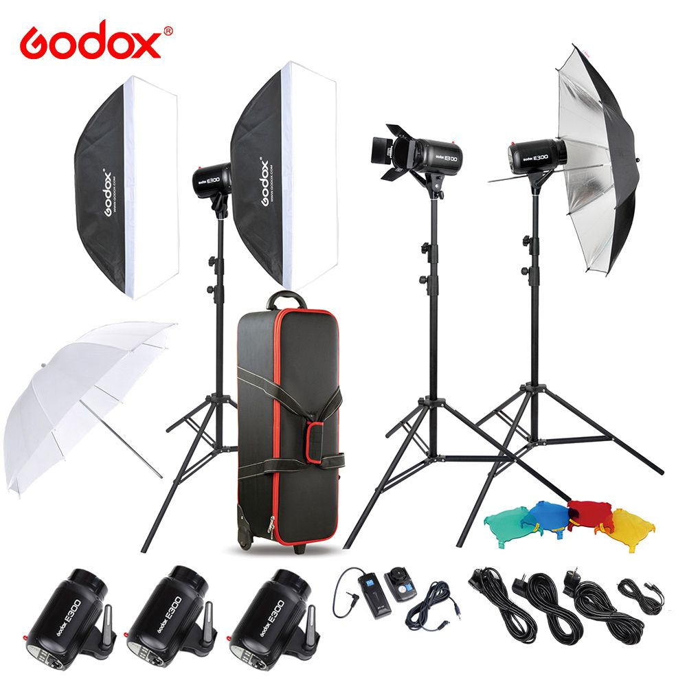 Godox E300-D 300W Photography Solutions Studio Speedlite Flash Strobe with Flash Trigger/ Light Stand/ Softbox/ Barn Door