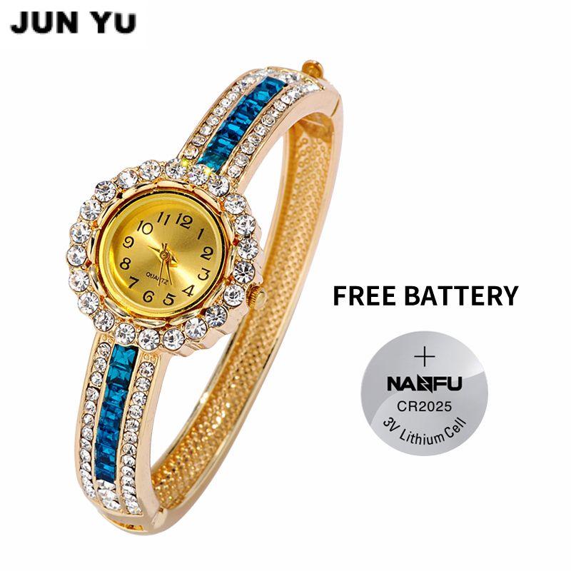 Junyu 2017 Лидер продаж женские роскошные горный хрусталь браслет Кварцевые часы Для женщин наручные Для женщин 6 цвет браслета часов