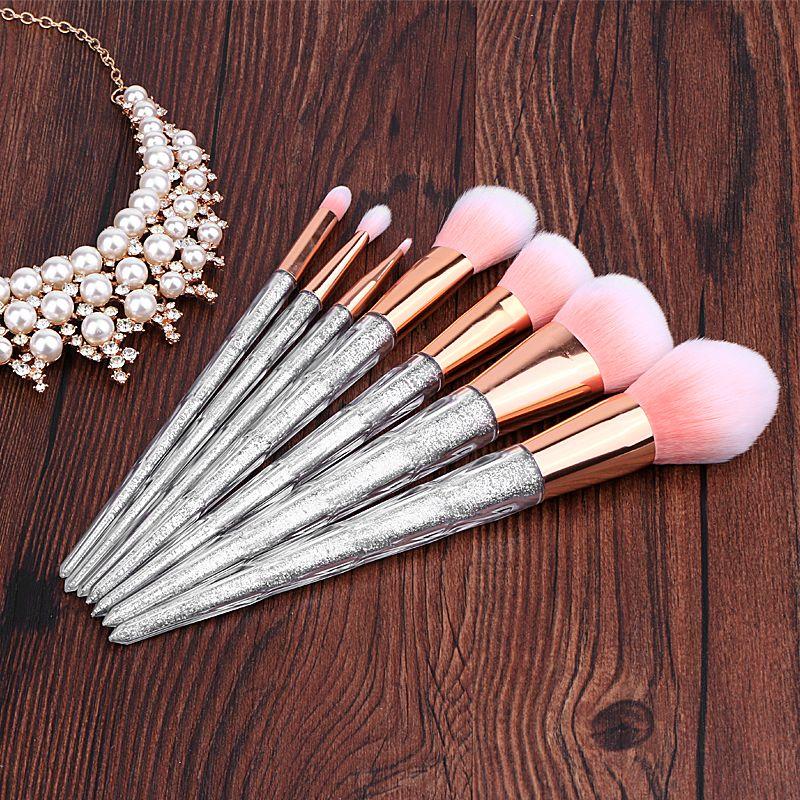 Women 7pcs Professional Makeup Brushes Set Silver Glitter Clear Plastic Handle Powder Foundation Tools cosmetic brush kits
