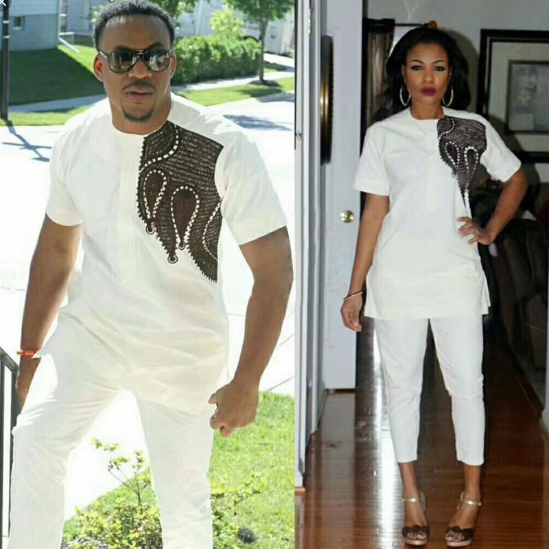 H&D african dresses for women and men traditional african couple clothing bazin riche tops pant set suit africa Dashiki Couples