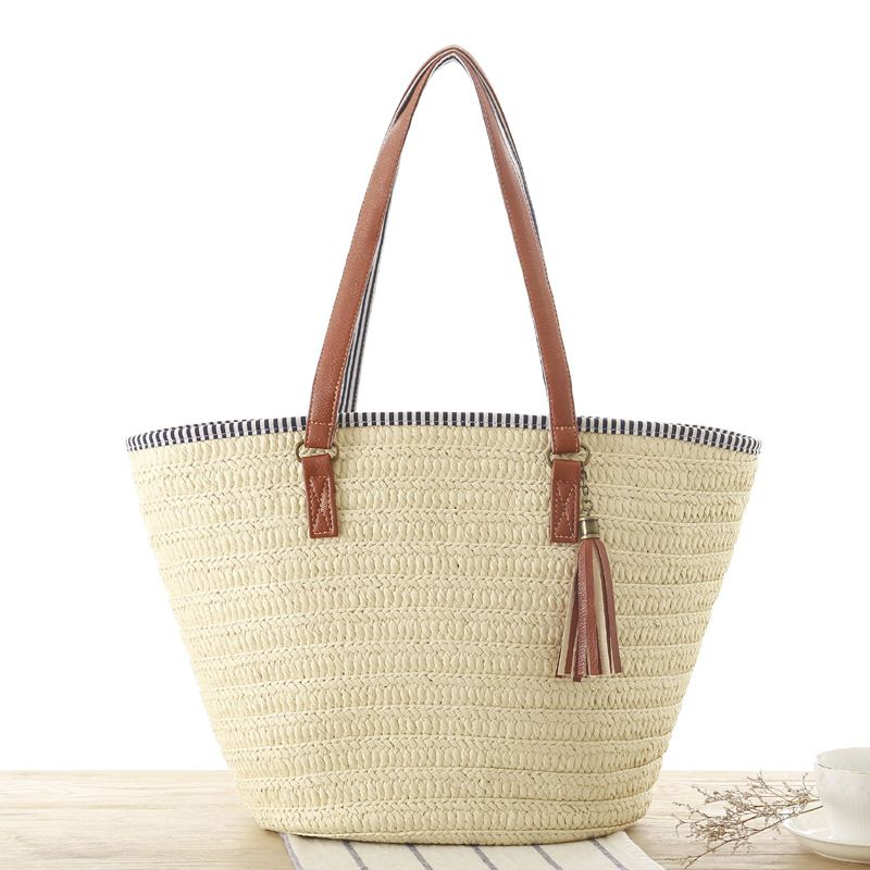 MISS YING Summer Style Beach Bag Women Straw Tassel Shoulder Bag Brand Designer Handbags High Quality Ladies Casual Travel Bags