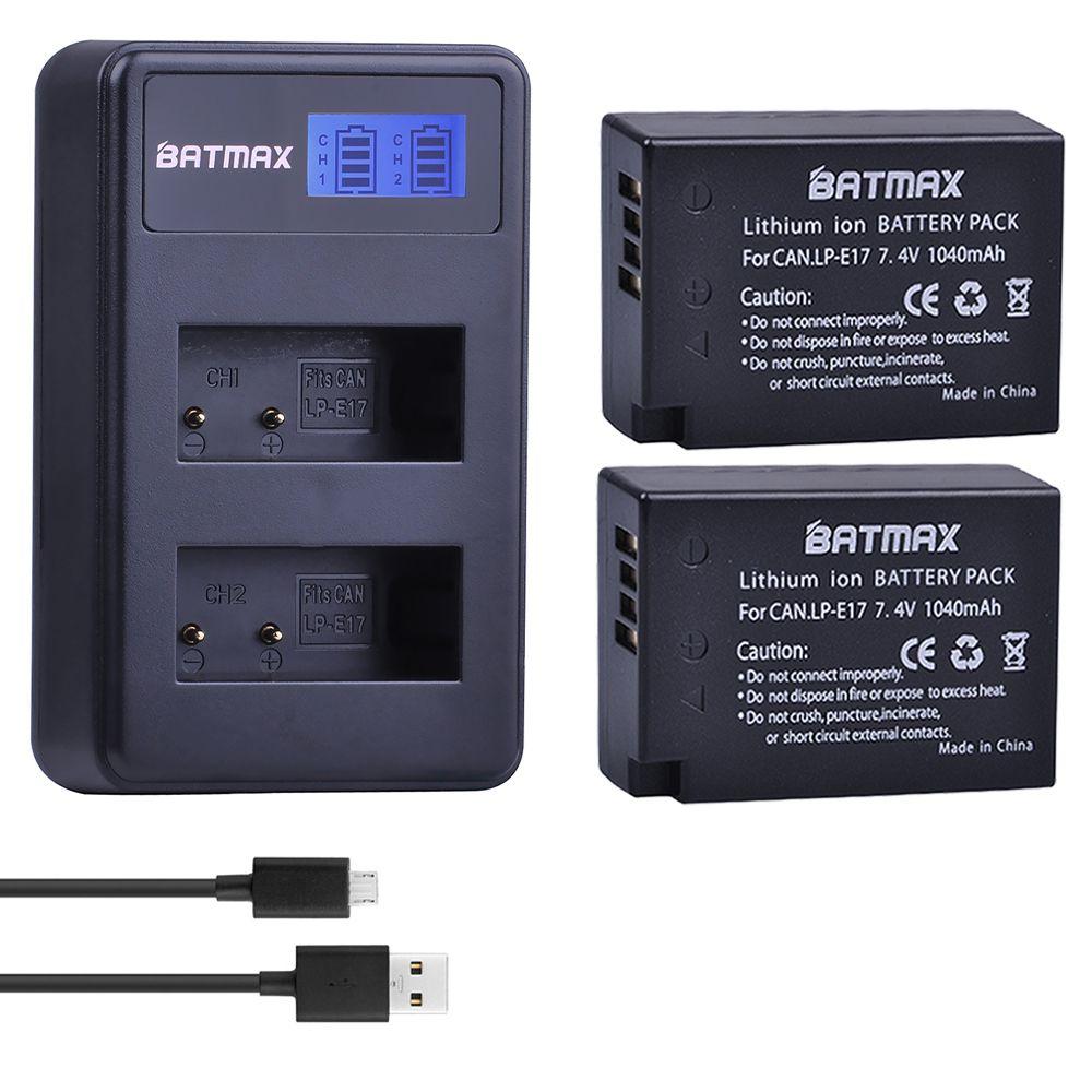 2X1040 mAh LP-E17 LPE17 LP E17 Caméra Batterie + LCD Double USB Chargeur pour appareil photo Canon EOS M3 M5 M6 750D 760D T6i T6s 800D 8000D Baiser X8i