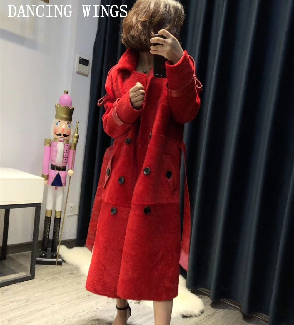 Women Real Natural Sheep Shearling Fur Coats Winter Warm PU Leather Liner Long Jacket Thick Female Overcoat