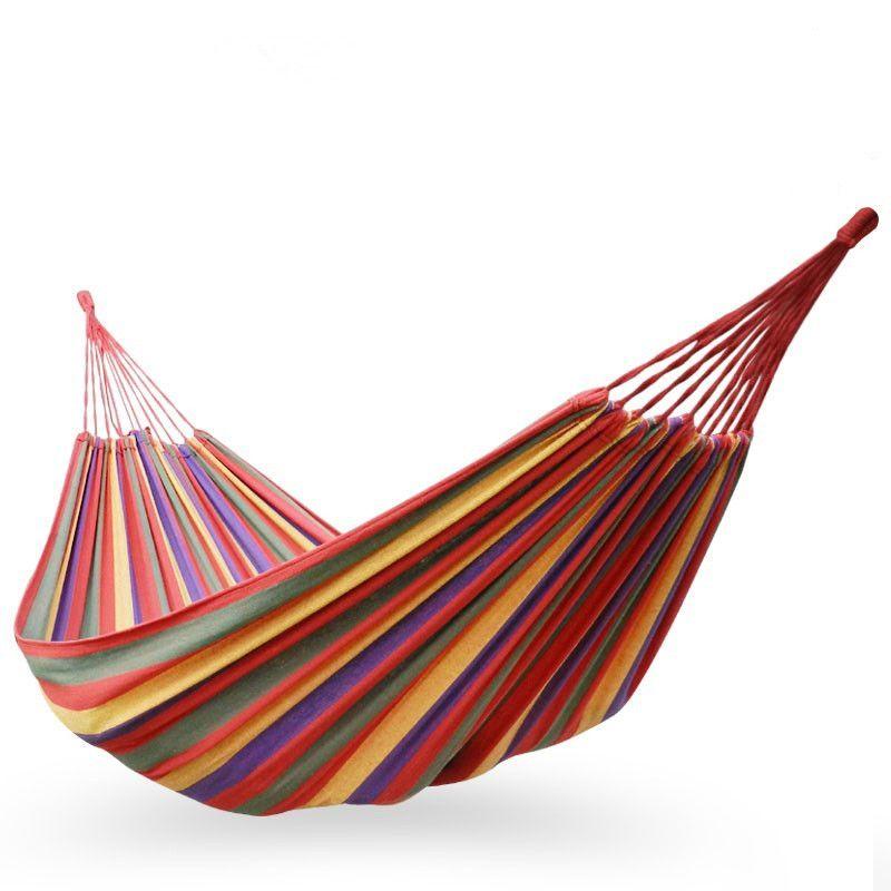 3 tailles hamac extérieur Sports de plein air voyage à la maison Camping balançoire toile rayure accrocher lit simple et Double personne hamac