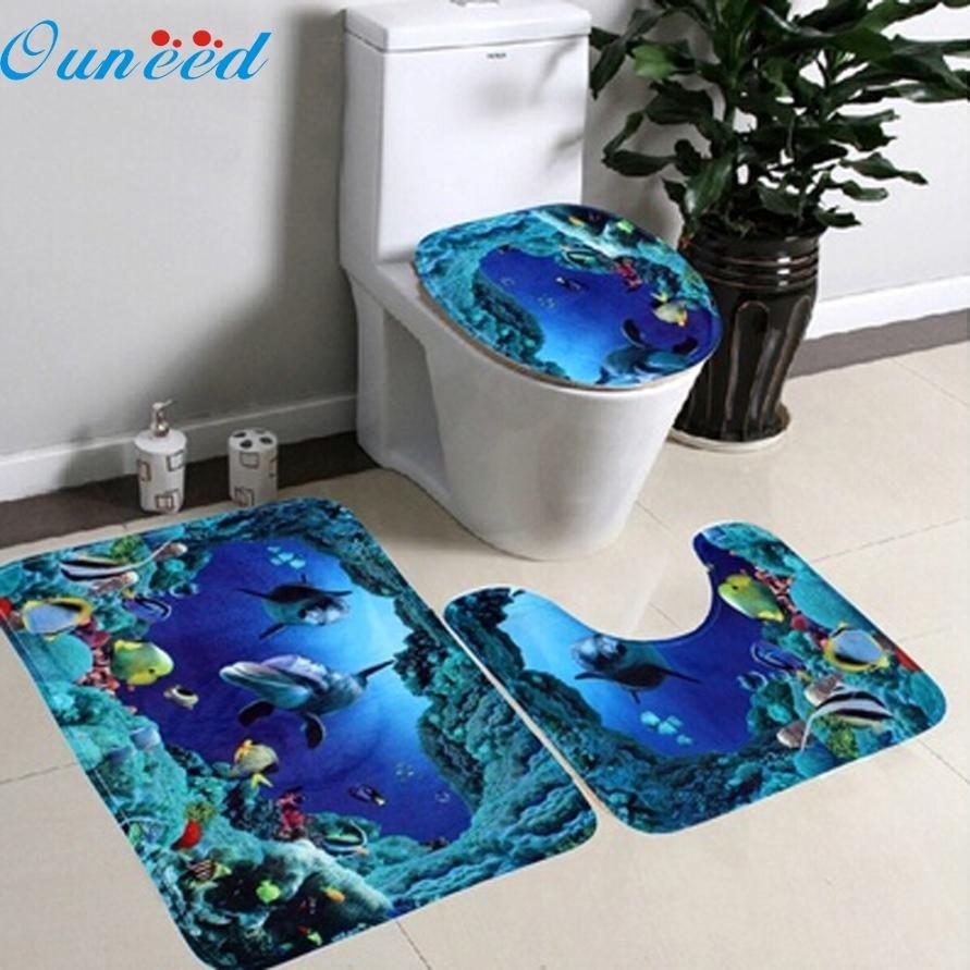 Peut 27 Mosunx D'affaires 3 pcs/ensemble Salle De Bains Non-Slip Bleu Océan Style Piédestal Tapis + Couvercle Couvercle De Toilette + tapis de bain drop shipping
