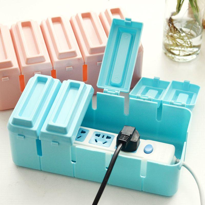 Puissance De Bureau boîte de rangement cas à clapet boîte de stockage de chaleur électronique cordon d'alimentation glisser bande câble gestion