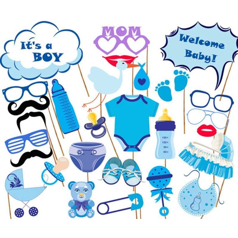 27Pcs Baby Shower Decoration Newborn Its A Boy Girl Photo Booth Props Birthday Blue Pink Baptism PhotoBooth Party Supplies