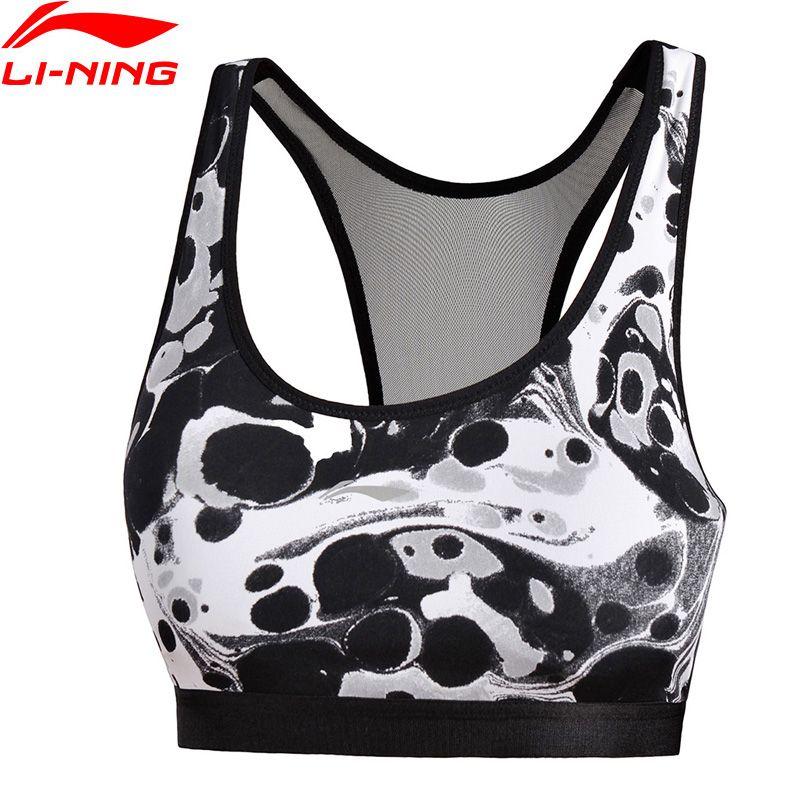 Li-Ning Women Sports Bras Tight Fit Breathable Medium Support LiNing Sport Bra Tops AUBM194 WBJ163