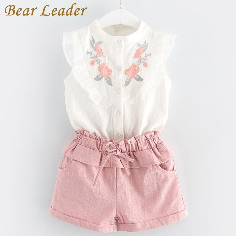 Bear Leader Girls Clothing Sets 2018 New Summer Girls Clothes Sleeveless T-shirt+Shorts 2Pcs Kids Clothing Sets For 3-7 Years