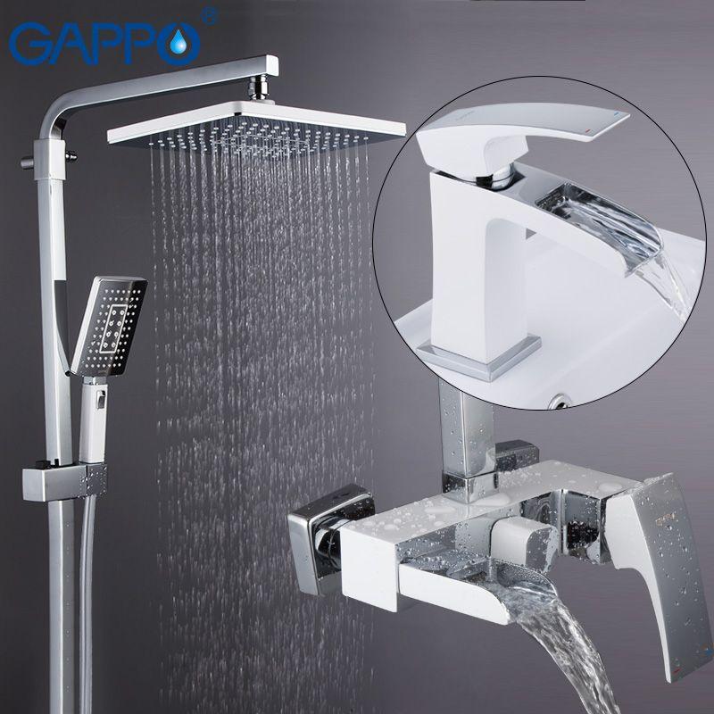 GAPPO dusche system becken wasserhahn chrom und weiß wand montiert dusche sets deck montiert becken waschbecken wasserhahn messing sets