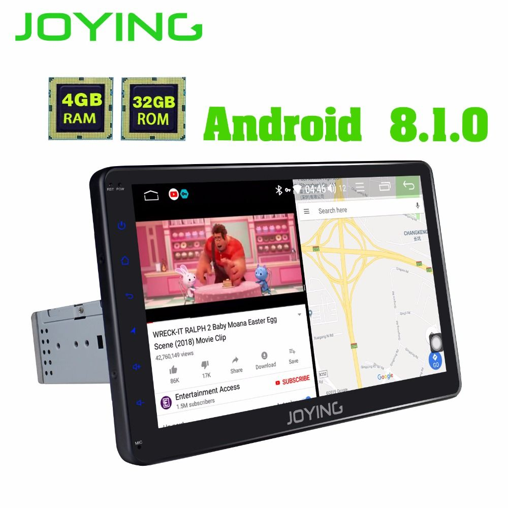 JOYING Octa Core 4 GB RAM 10,1 ''Android 8.1 one din Stereo GPS Navigation HD Touch Screen Universal audio Auto radio mit DSP BT