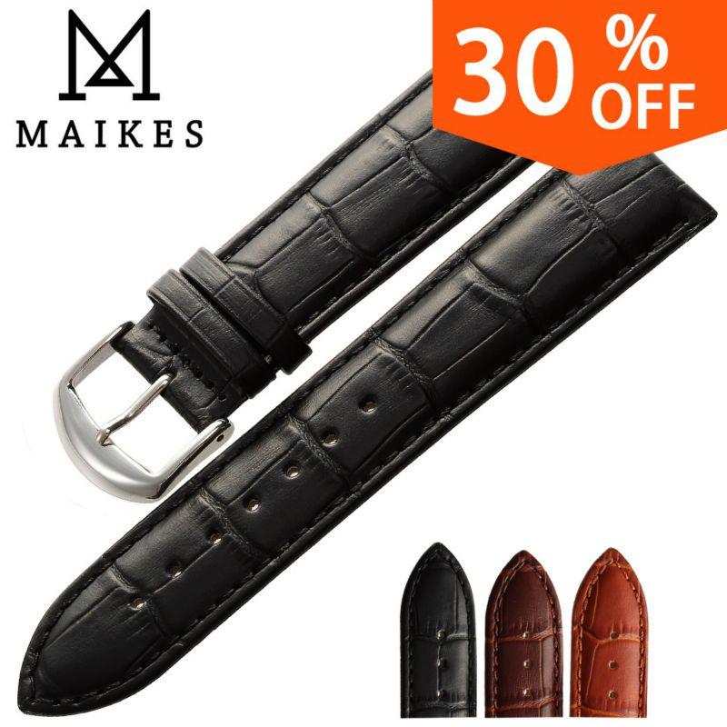 MAIKES Nouvelle montre bracelet ceinture noir bracelets bracelet en cuir véritable bande de montre 18mm 20mm 22mm montre accessoires bracelet