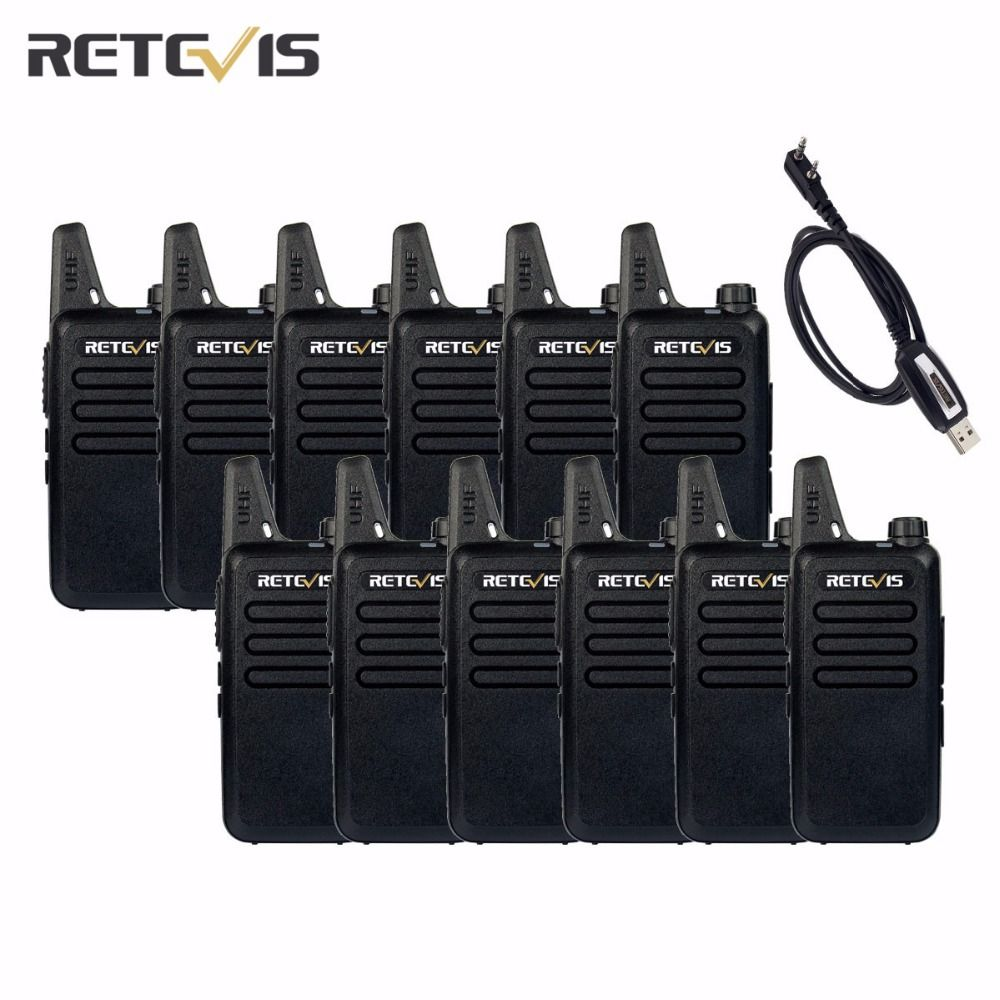 12pcs Walkie Talkie Retevis RT22+A Programming Cable UHF 2W CTCSS/DCS TOT VOX Scan Squelch Portable Two Way Radio Set A9121A