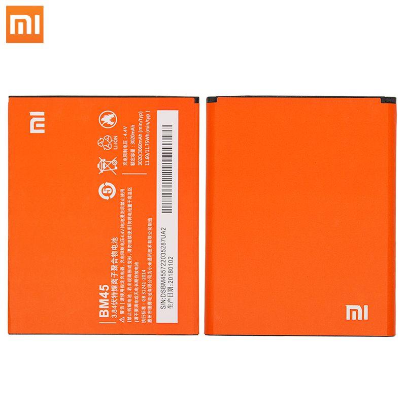 Xiao mi Original BM45 Mobile Téléphone Batterie Pour Xiao mi Rouge mi Note 2 Hong mi Note2 Piles De Rechange Vraie capacité 3020 mAh