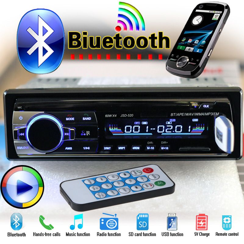 12V Bluetooth Car Radio Player Stereo FM MP3 Audio 5V-Charger USB SD AUX Auto Electronics In-Dash Autoradio 1 DIN NO DVD JSD-520