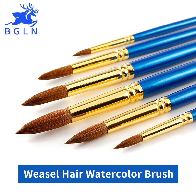 BGLN 6Pcs/Set Weasel Hair Professional Watercolor Paint Brush With Box Watercolor Painting Brush Stationery Art Supplies
