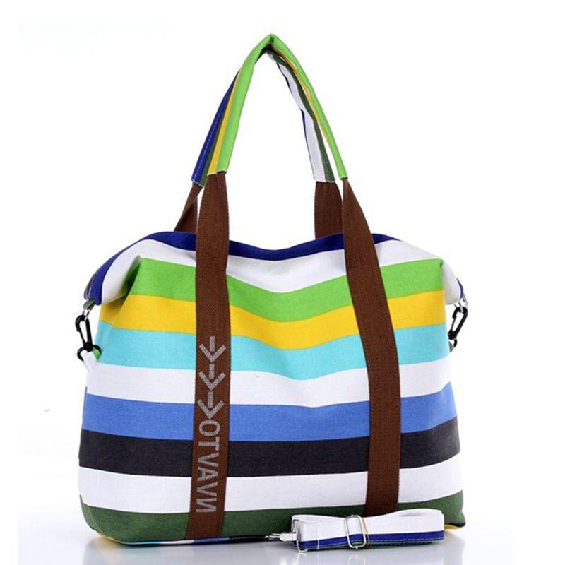 Femmes toile Messenger sac femme sacs à bandoulière dames plage Top-poignée sacs rayure fourre-tout Shopping sac à main Bolsa grands sacs à main