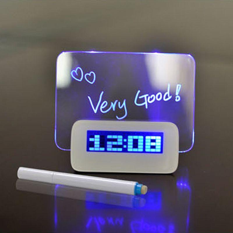 Horloge numérique multifonctionnel réveil surligneur lumière bleue LED babillard USB 4 ports Hub horloge LED